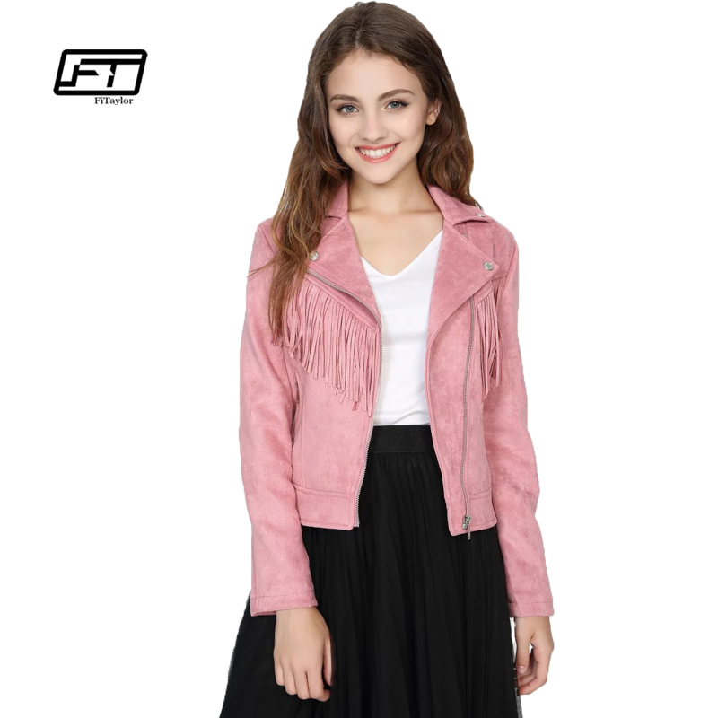 Fitaylor New Spring Women Faux   Suede   Jacket Slim Punk   Leather   Jacket Short Design Women Bikers Pink Tassels Jacket Moto Outwear