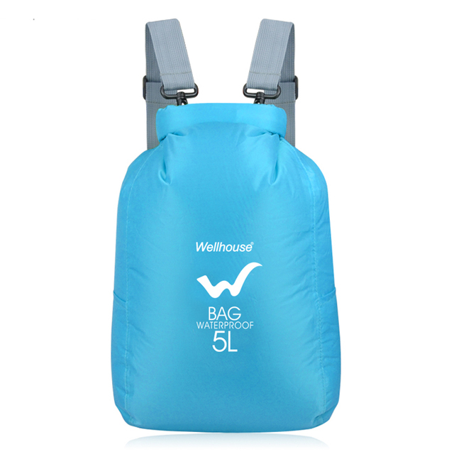 5l Blue Outdoor Waterproof Swimming Dry Bag Foldable Nylon Drifting Kayaking Bags Multifunction Travel Storage Backpack