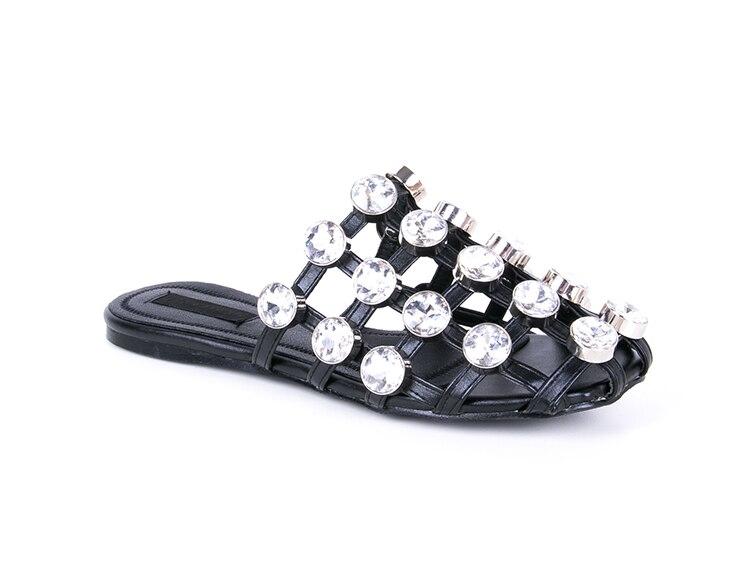 Plus Cristal Noir Strass blanc Chaussures Plat Grand Taille kaki Zapatos Diamant Diapositives Femme Noir D'été Mujer Vente Pantoufles Nouveau Accueil La Femmes HpqrIH
