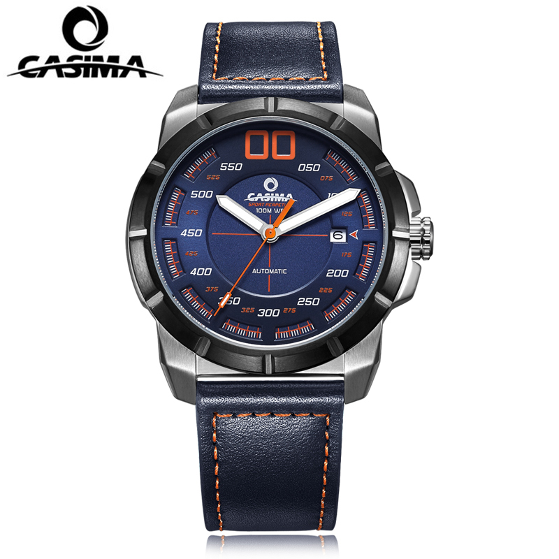 CASIMA New Design Sport Automatic Watch Men Self-winding Mechanical Wrist Watch Waterproof 100m Genuine Leather Men's Watches