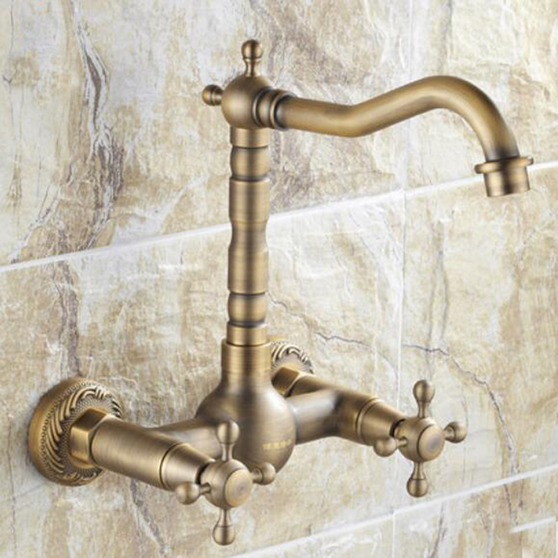Solid Brass Antique Brass Bathroom Basin Faucet Swivel Spout Wall Mounted Mixer antique brass swivel spout dual cross handles kitchen
