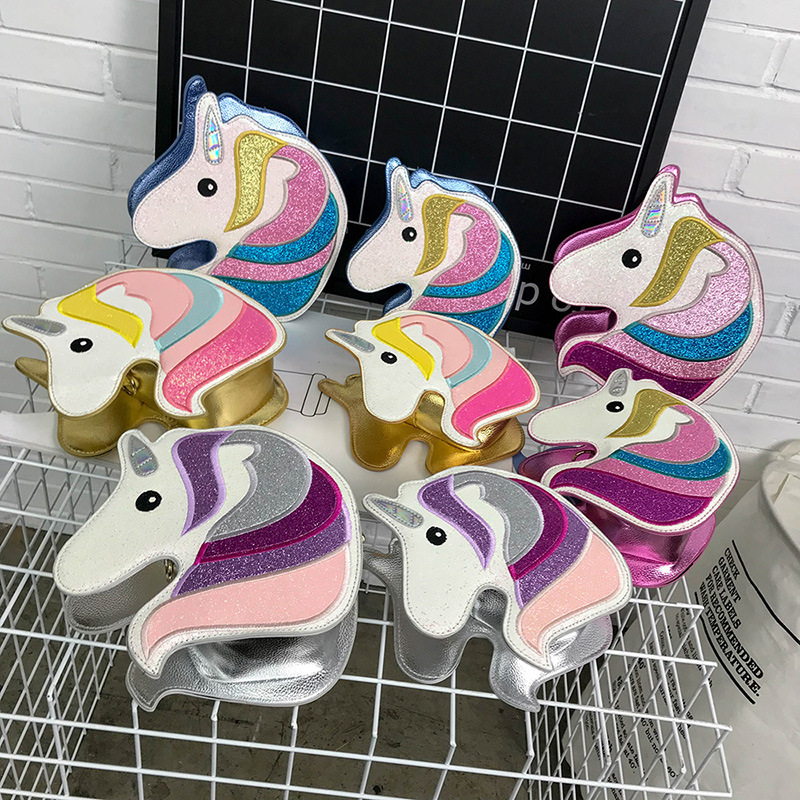 New Fashion Shoulder Bag Women Colorful Embroidery Sequin Cute Unicorn Design Crossbody Messenger Bag Casual Ladies Handbag cute colour block and magnetic closure design crossbody bag for women