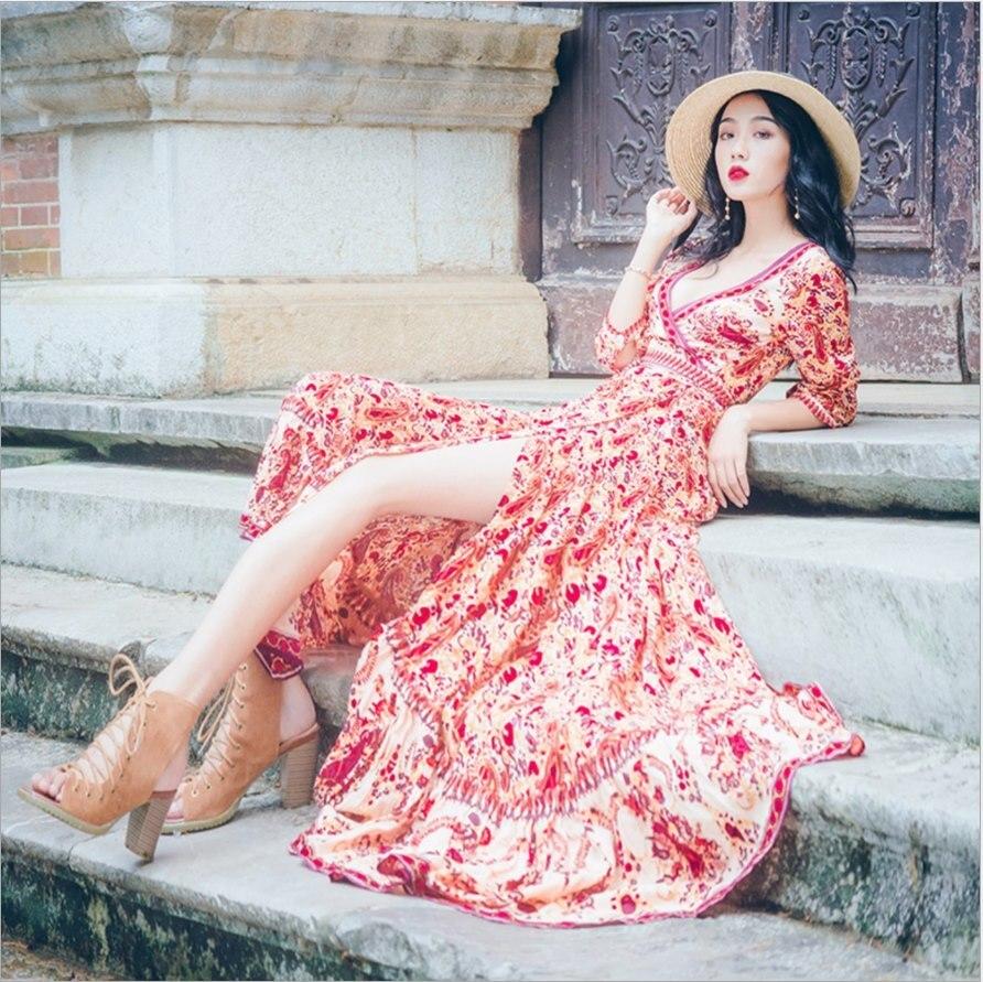 Printemps automne bohème longue robe femmes été v-cou Floral imprimé Boho robe plage vacances Split Swing robes