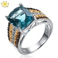 Hutang Natural Blue Fluorite & Color Diamond Solid 925 Sterling Silver Ring 3-Tone Gemstone Fine Jewelry Women's Wedding Gift