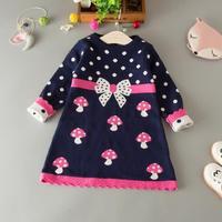 2016 Autumn Winter Cute Toddler Girl S Long Sleeve Pink Blue Polka Dot Mushroom Bowknot Pattern