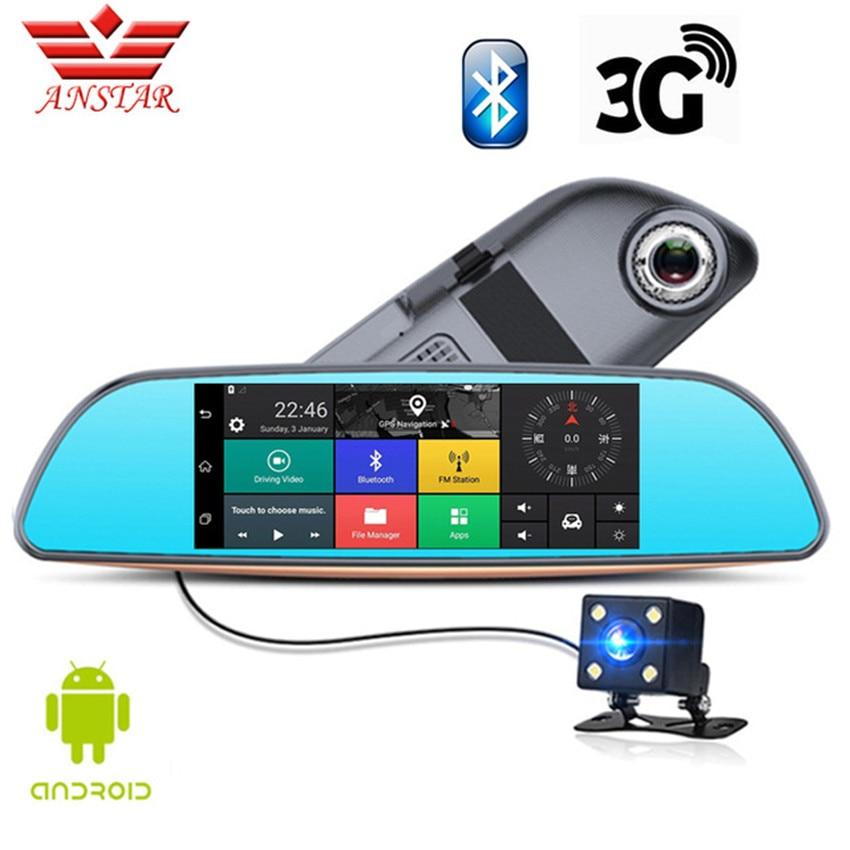 ANSTAR 3g/Wifi Android DVR CAR Dual Lens Camera FHD 1080 p Cam Traço Vídeo Recorder Espelho Retrovisor GPS de Navegação Do Veículo Dashcam