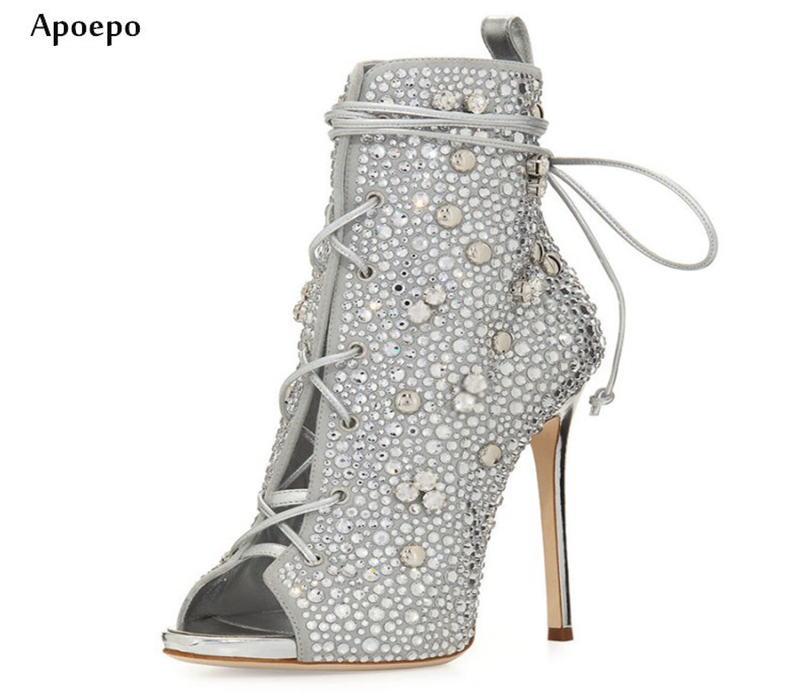 Apoepo New Fashion Crystal Embellished High Heel Boots Sexy Peep Toe Lace-up Thin Heels Ankle Boots for Woman Short Sandal Boots denim blue thin heels boots new fashion bling bling crystal embellished high heel boots sexy pointed toe lace up ankle boots