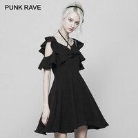 PUNK RAVE New Women's Black Lotus Ruffle Sleeve Halter Neckline A line Bandage Dress Fashion V Neck Edge Mini Chiffon Dresses