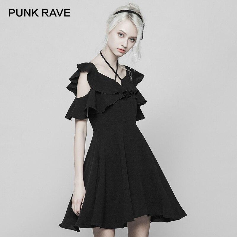Kadın Giyim'ten Elbiseler'de PUNK RAVE Yeni kadın Siyah Lotus Fırfır Kollu Halter Boyun Çizgisi A line Bandaj Elbise Moda V Yaka Kenar Mini şifon elbiseler'da  Grup 1