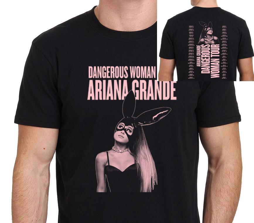 Mens Aria-na Dangerous Woman AG Gran-de Tee T-Shirt Black