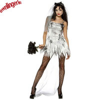 Free Shipping Adult Halloween Costume Gothic Fancy Zombie Bride Dress Ghost Bride Costumes For Cosplay Party