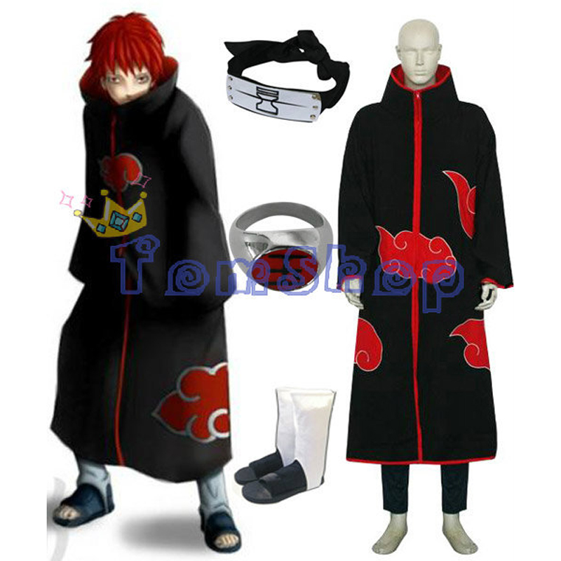 Anime Naruto Akatsuki Sasori Deluxe Edition Cosplay Costume 4 in 1 Wholesale Combo Set Cloak Headband