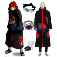 Anime Naruto Akatsuki Sasori Deluxe Edition Cosplay Costume 4 in 1 Wholesale Combo Set (Cloak+Headband+Boots+Ring) Free Shipping