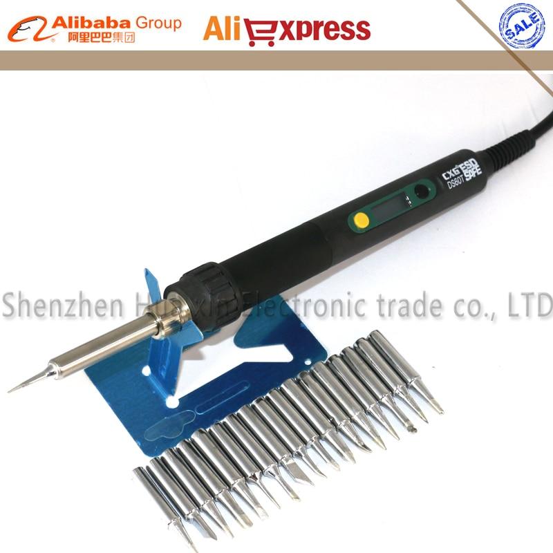 CXG DS60T Professional LCD Adjustable Digital Electric soldering iron Soldering station EU/US plug +17/pcs 900M Solder tip