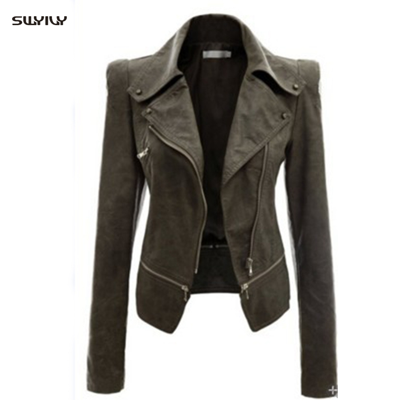 PU   Leather   Motorcycle Jacket Long-Sleeved Lapel Slim Zipper Fashion Jacket Casual   Leather   Jacket Female Autumn And Winter New