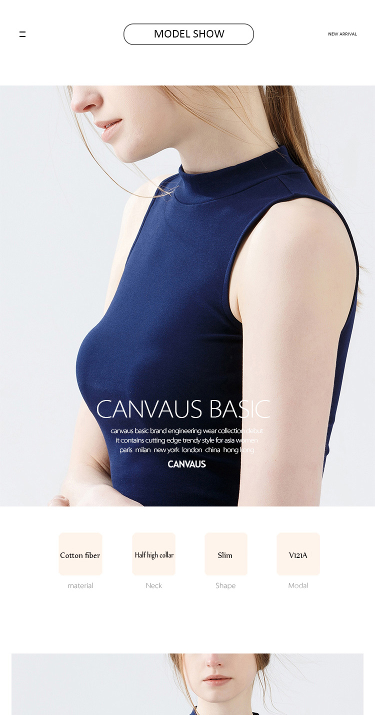 5cccc495b79ad8 CANVAUS Spring Summer New Women Cotton Solid Slim Sleeveless ...