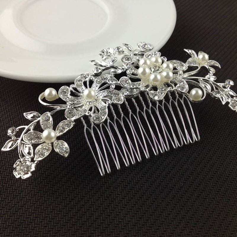 Hair Care & Styling Beauty & Health New Fashion Ladies Silver Rhinestone Bridal Wedding Flower Pearls Headband Hair Clip Comb Hottest For Sale