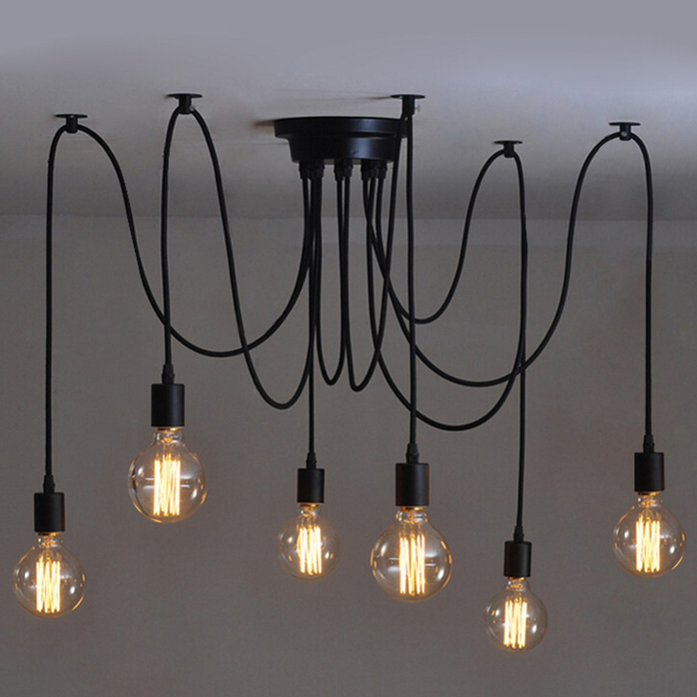 6 heads Vintage Industrial Edison Ceiling Lamp Loft Country Style Retro Pendent Lights For Home Indoor luminia 8 lights vintage edison lamp shade multiple adjustable diy ceiling spider lamp pendent lighting chandelier modern chic easy fit