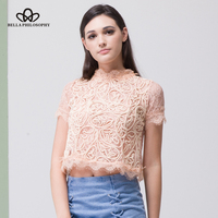 Bella Philosophy 2017 Spring Fashion Lace Short Sleeved Shirt