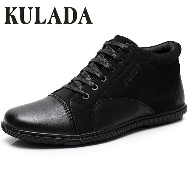KULADA Yeni erkek ayakkabısı Bahar ve Sonbahar Deri Kısa Peluş Yürüyüş Çizmeler Lüks Çalışma Dantel-Up erkek günlük çizmeler