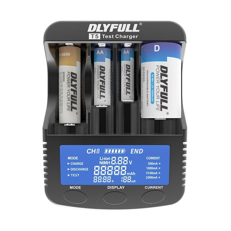 Nueva DLYFULL T5 Smart cargador de Li-ion 18650 14500 26650 32650 NiMH NiCD AA AAA AAAA SC D cargador