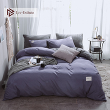 Liv-Esthete Blue Purple And Gray Luxury Bedding Set Home Duvet Cover Flat Sheet Bed Linen Bedspread Double Queen King For Adult