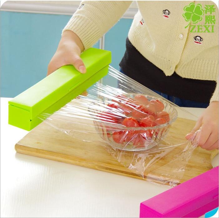 2016 Hot Sale Plastic Film Cutter Candy Color Kitchen Gadget Hot Film Cutter Plastic Food Wrap Dispenser Foil Wax Paper Cutter