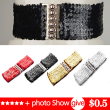 Sequined elastic waistband mirror sequined new womens wide belts corset belt elastic belts for woman elastic belts