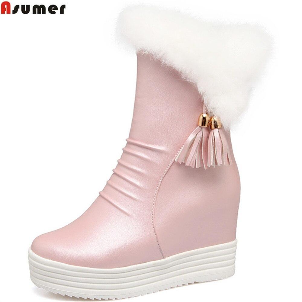 Asumer/2018 г., Новое поступление, модные женские ботинки с круглым носком на молнии, женские ботинки, черный, белый, розовый цвет, ботильоны, увели...