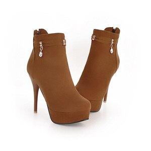 Image 3 - JK Big Size 32 48 Stiletto Heels Women Boots Round Toe Flock Ladies Shoes Crystal Rubber Autumn Zip Footwear Platform Ankle Boot