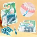 8 Unids/set Encías Masaje Cuidado Oral Dental Floss Suave Cepillos 0.8mm Lengua Palillo Interdental Cepillo Interdental cepillo de Dientes