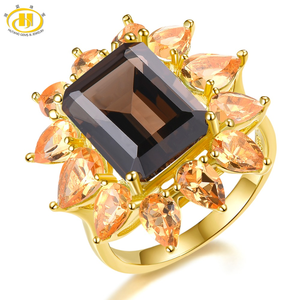 Hutang 15x11mm Smoky Quartz Rings Natural Gemstone Citrine 925 Silver Ring Fine Yellow Gold Jewelry for