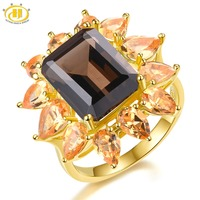 Hutang 15x11mm Smoky Quartz Rings Natural Gemstone Citrine 925 Silver Ring Fine Yellow Gold Jewelry for Women Best Gift New 2019