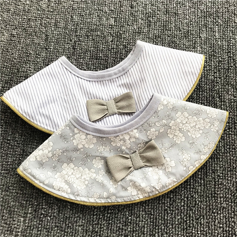 Ins Retro Cotton Breathable Baby Bibs Breastplate Waterproof Kids Things Baby Stuff 360 Degree Rice Pocket (7)