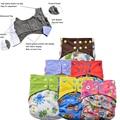 Carbón de bambú reutilizable infantil del bebé pañales de tela AIO pañales con fuelles dobles + libertad Implantables lavables pañales de bolsillo