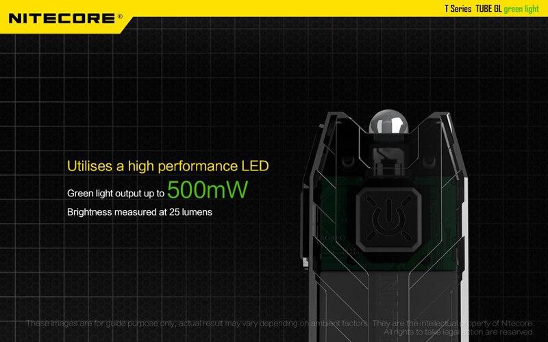 NITECORE TUBE GL Green LED USB Rechargeable Keychain Flashlight