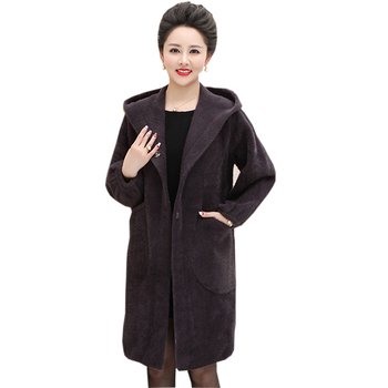 Winter Mother Mink Fur Coats Casual Hooded Long Thicken Warm Oversize Jackets Women Cashmere Outwear Mink Fur Coats FP1691
