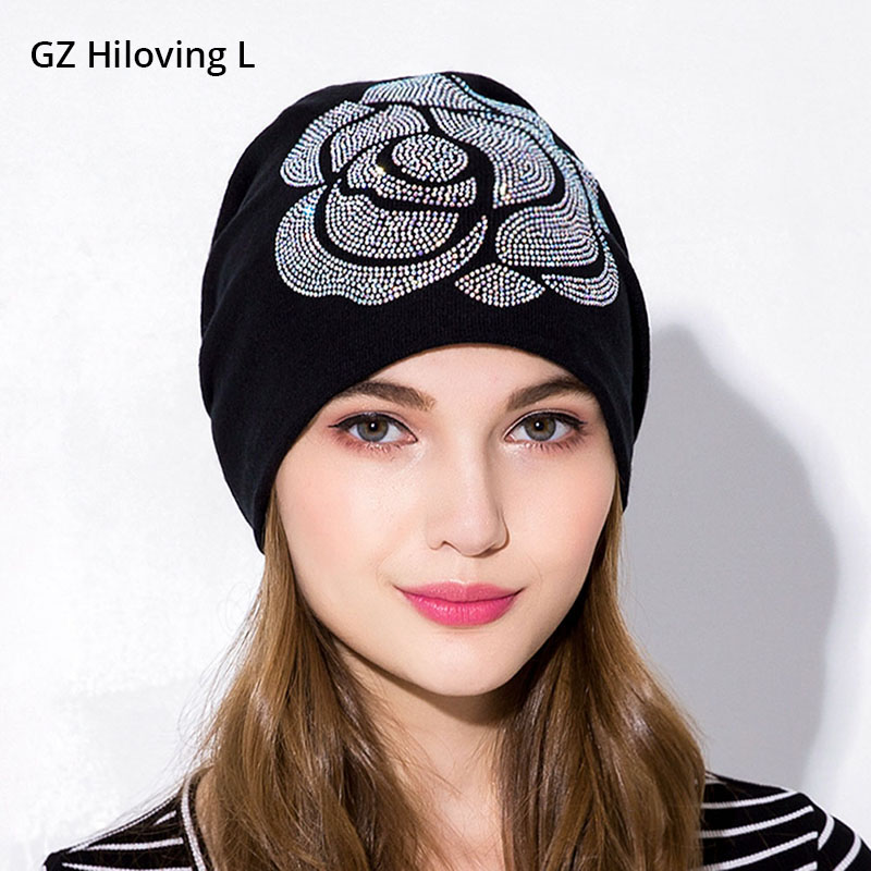 1aed7d715 GZHilovingL New Soft Autumn Winter Women Hats Ladies Diamond Cotton Slouchy  Cap Beanie Hats For Women Floral Rose Long Beanies