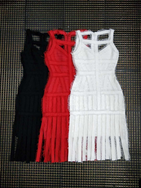 2019 hl nieuwe cocktail party clubwear night out formele fringe kwastje mouwloze chiffon sheer zwart rood wit vrouwen bandage jurk - 6