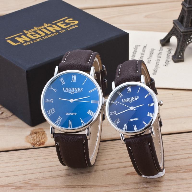2019 Top Couple Clock Leather Band Analog Quartz Round Wrist Business Men's Watch Waterproof Ladies Watches Relogio Masculino