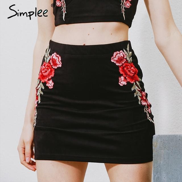 Simplee flor bordado de camurça lápis saia de cintura alta saias curtas das mulheres do vintage do natal sexy bodycon mini saia