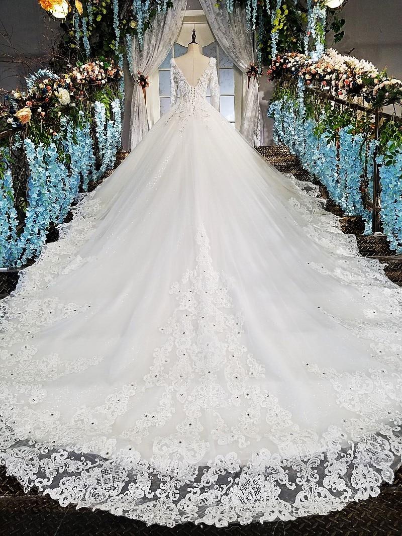 LS00213 vestido de noiva casamento backless appliques 3/4 mouwen kant - Trouwjurken - Foto 4