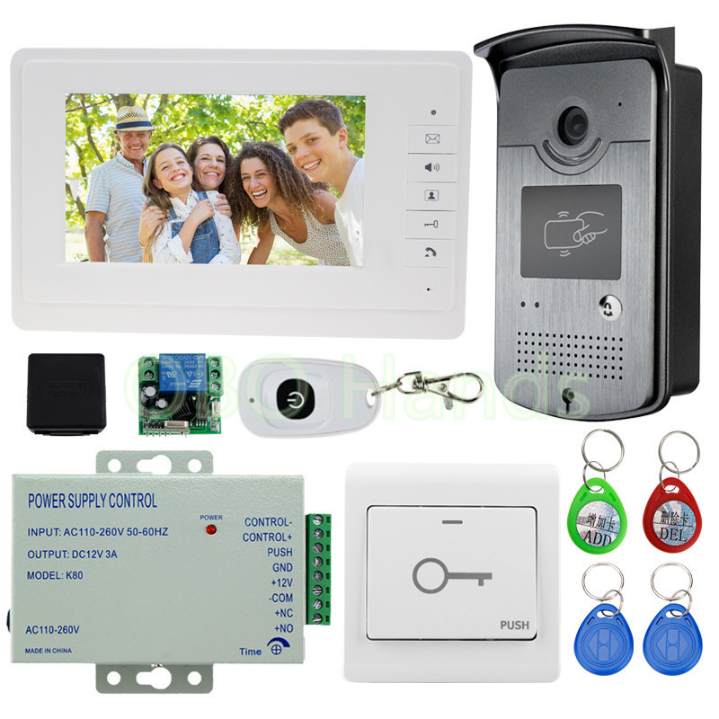 New 7'' Wired Color Video Door Phone Intercom System 1 Monitor +1 RFID Access Camera +Power Supply+ Remote Control Free Shipping free shipping new 7 tft color video door phone intercom recording system 2 screens outdoor rfid door camera remote 8g sd