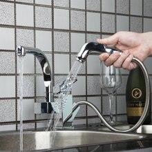 Новый Дизайн Кухонная мойка кран Pull Out и 360 градусов поворотный хром латунь одной ручкой и одно отверстие Смесители Коснитесь