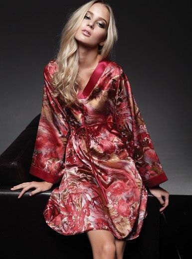 Holiday Sale Silk Sleepwear Women Long RobeRed Sleep Tops