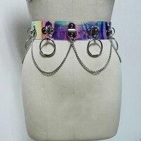 100% Handmade Unisex Men Women Holographic Harness Waist Belt Vinyl PVC Hologram Circle Punk Gothic Chain Link Metal Straps