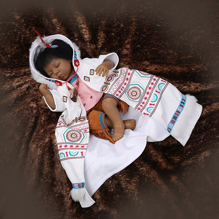55cm Very Popular & Rare Native American Indian Reborn Baby Doll Simulation Baby Doll Collectible Black SKin Doll Artwork Gifts
