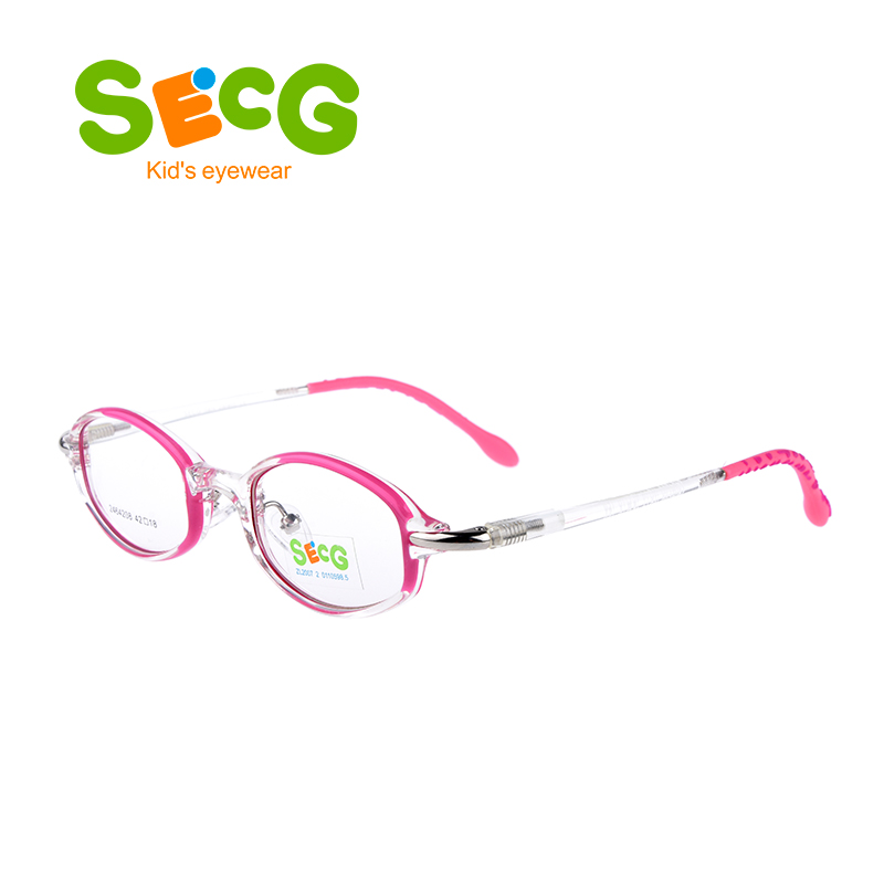 SECG Round Stainless Alloy Frame Soft Flexible Kids Frame Silicone Dot Leg Foot Solid Optical Children Frame Gafas Lunettes