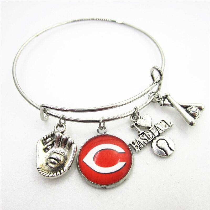 New 10pcs Cincinnati Reds Baseball Sports Bracelets US Macroporous European Bracelet&Bangles adjust Bangles Jewelry charms