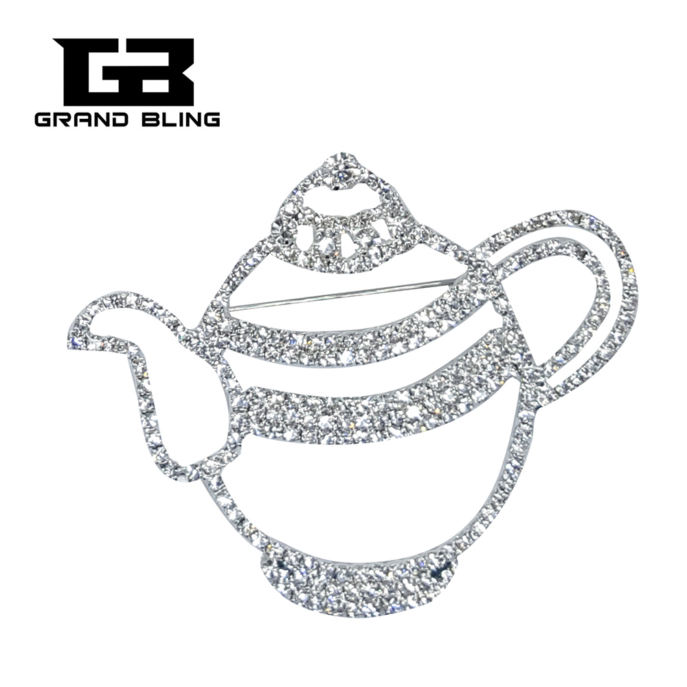 Unique Jewelry Fantastic Clear Rhinestone Tea Pot Brooch Pin Gift in Brooches from Jewelry Accessories